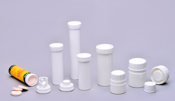 Effervescent Tube with Spiral Desiccant Closure